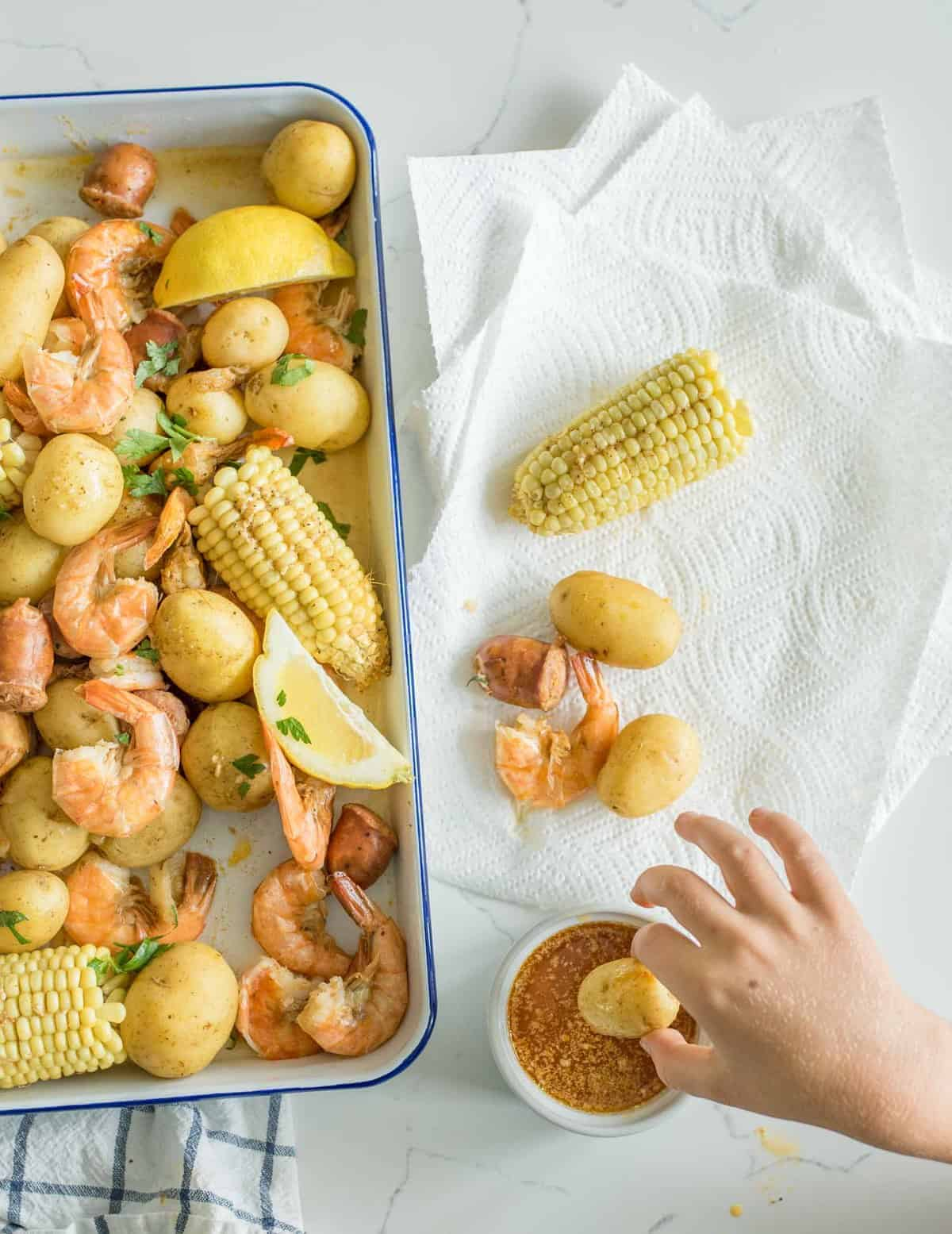 Quick and easy Instant Pot Shrimp Boil made with potatoes, corn, shrimp, sausage and just a few simple seasonings.