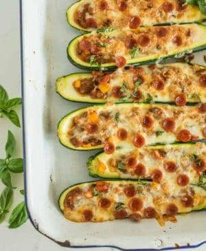 Image of pizza stuffed zucchini