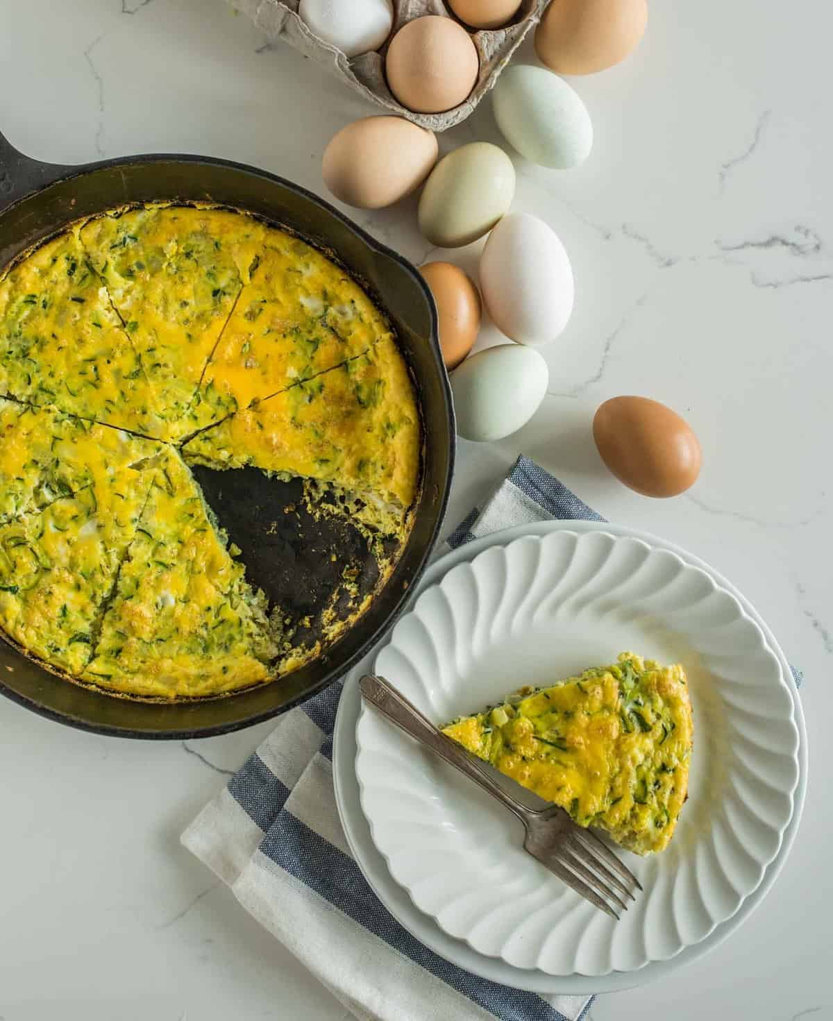 Healthy easy zucchini egg bake recipe is made with 3 ingredients, can be customized to your liking, reheats well, and is a great option to prep ahead.
