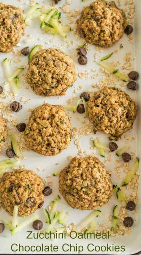 Title Image for Zucchini Oatmeal Chocolate Chip Cookies and a parchment paper-lined cookie sheet with zucchini oatmeal chocolate chip cookies with zucchini shreds, oats and chocolate chips