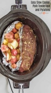 Slow Cooker Pork Tenderloin and Potatoes make the perfect simple dinner with moist and flavorful pork and potatoes that aren't overcooked or soggy.