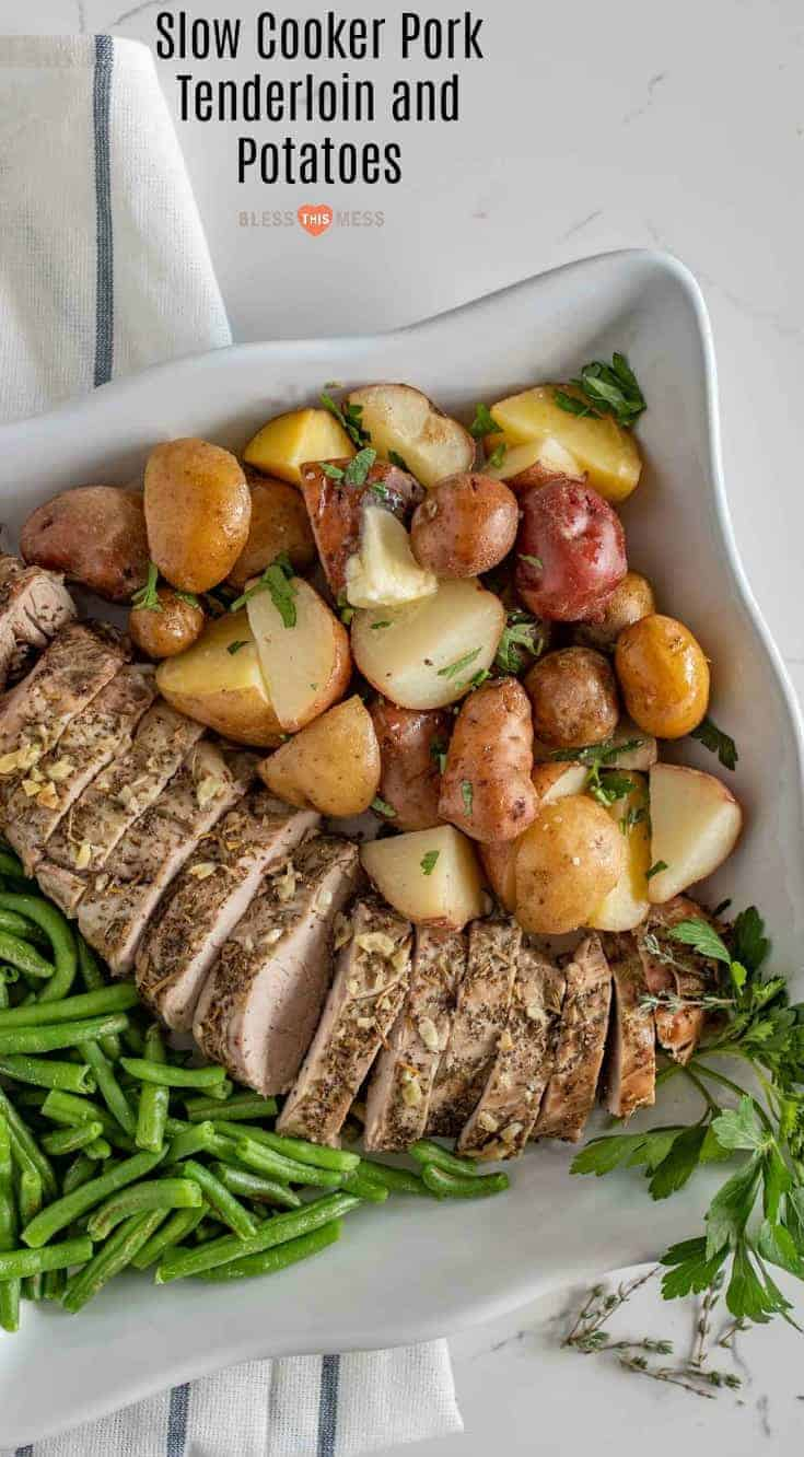 Slow Cooker Pork Tenderloin and Potatoes make the perfect simple dinner with moist and flavorful pork and potatoes that aren't overcooked or soggy. #pork #slowcooker #dinner #tenderloin