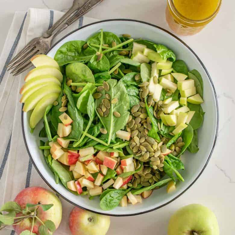 Easy Apple Spinach Salad with an Apple Vinaigrette