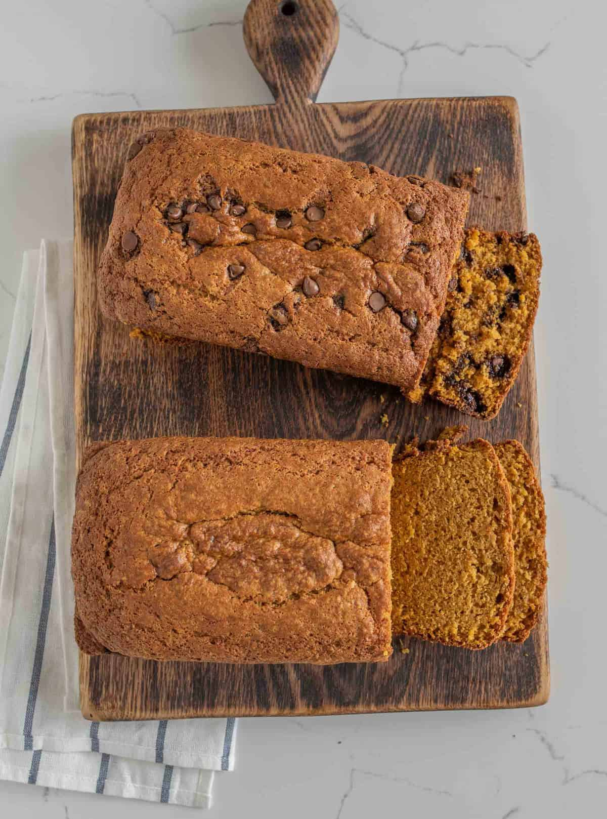 This is THE Perfect Pumpkin Bread recipe made with or without chocolate chips. It's sweet, moist, perfectly cooked and never gummy, you'll make it over and over again.