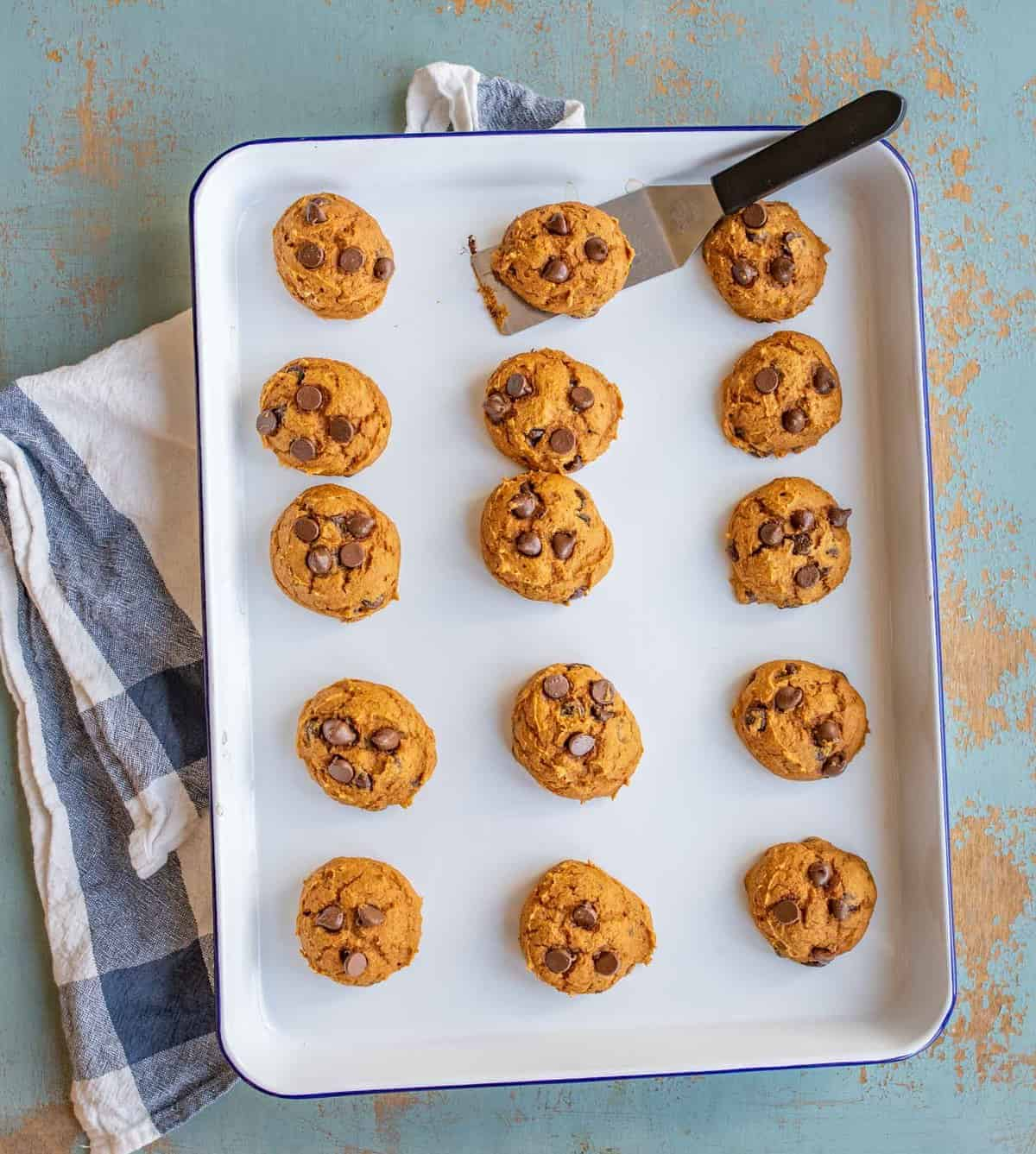 Quick and easy pumpkin chocolate chips cookies made with only 4 ingredients including a cake mix.