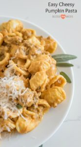 Rich and creamy Sausage and Pumpkin Pasta made with ground sausage, pumpkin puree, garlic, sage, and lots of Parmesan cheese is comfort food at it's best.