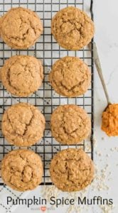One Bowl Pumpkin Spice Muffins made with whole wheat flour, rolled oats, pumpkin puree, and all of your favorite fall spices like cinnamon, nutmeg, and cloves.