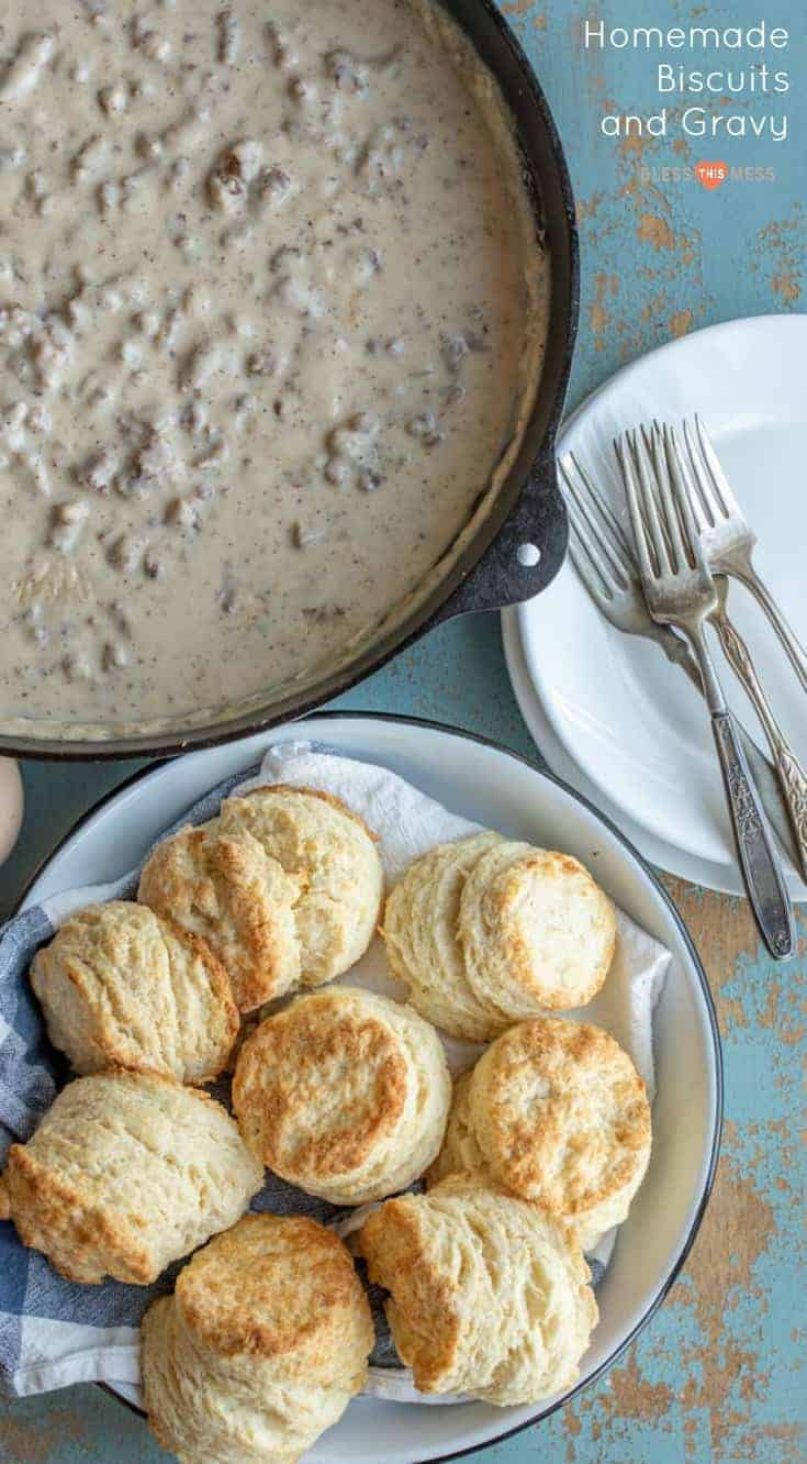 How to make homemade biscuits and gravy with just a few simple ingredients. I've been making this easy recipe for 20 years! It's the perfect comfort food. #biscuitsandgravy #gravy #biscuits #breakfast #comfortfood