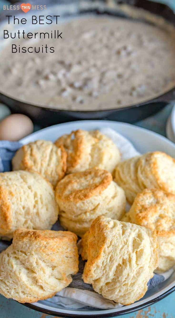 The best recipe for buttermilk biscuits that are extra tall, flaky, fluffy and perfect to eat on their own or piled high with gravy or butter and jam.