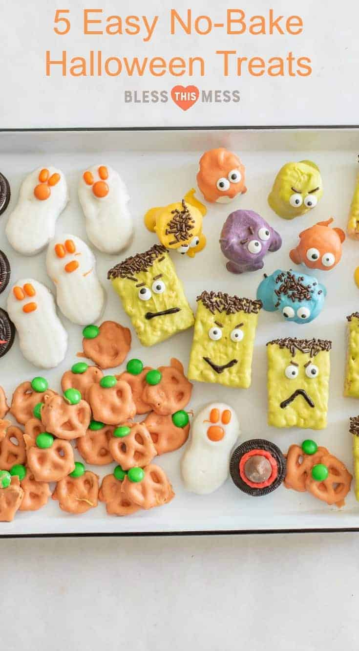 5 fast, easy, kid-friendly, no-bake Halloween treats that are so easy to make your kids could do it on their own.