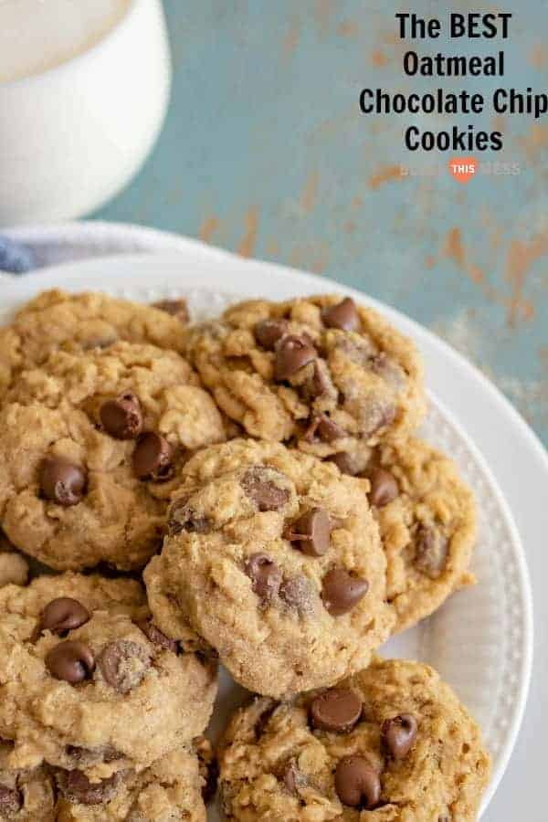 Our favorite soft and chewy homemade Oatmeal Chocolate Chip Cookies made with butter, old-fashioned rolled oats, and lots of chocolate chips!