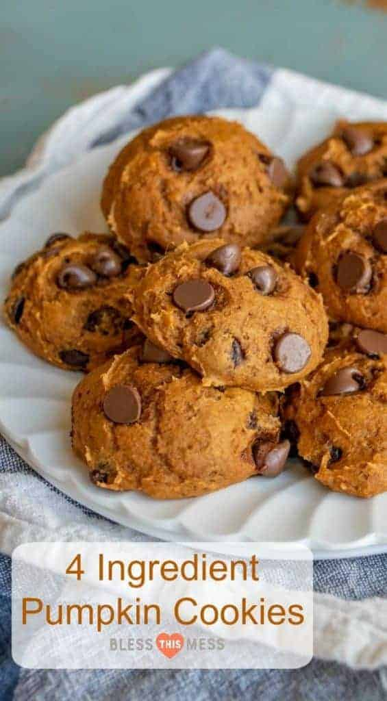 Title Image for 4 Ingredient Pumpkin Cookies and a pile of pumpkin chocolate chip cookies on a round white plate