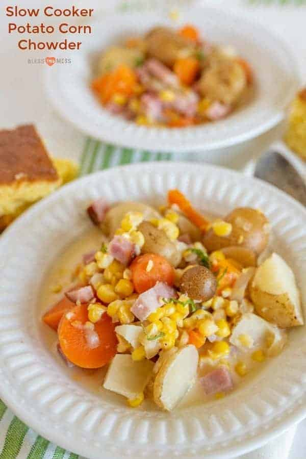 Simple slow cooker potato and corn chowder made with simple ingredients you already have in the pantry, and it's packed with flavor.