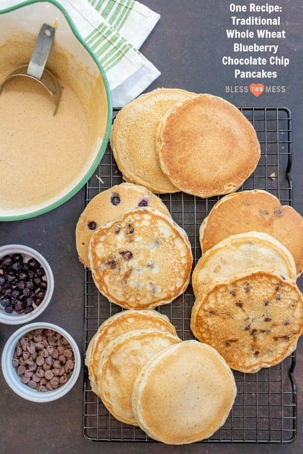 Tried and true simple homemade pancakes that are light and fluffy easy to make and can be made traditional, whole wheat, or with blueberries or chocolate chips.