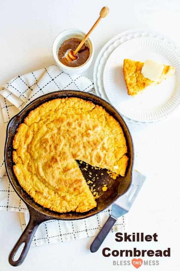 Cast Iron Skillet Cornbread that is tender in the middle, lightly sweet, and has a perfect crust on the bottom thanks to melting butter in your skillet before adding the batter!