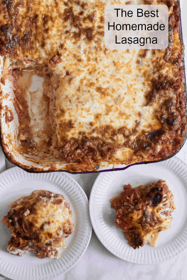 Classic lasagna recipe made with traditional ingredients like sausage, homemade sauce, and loads of cheese. Plus it's freezer friendly too.