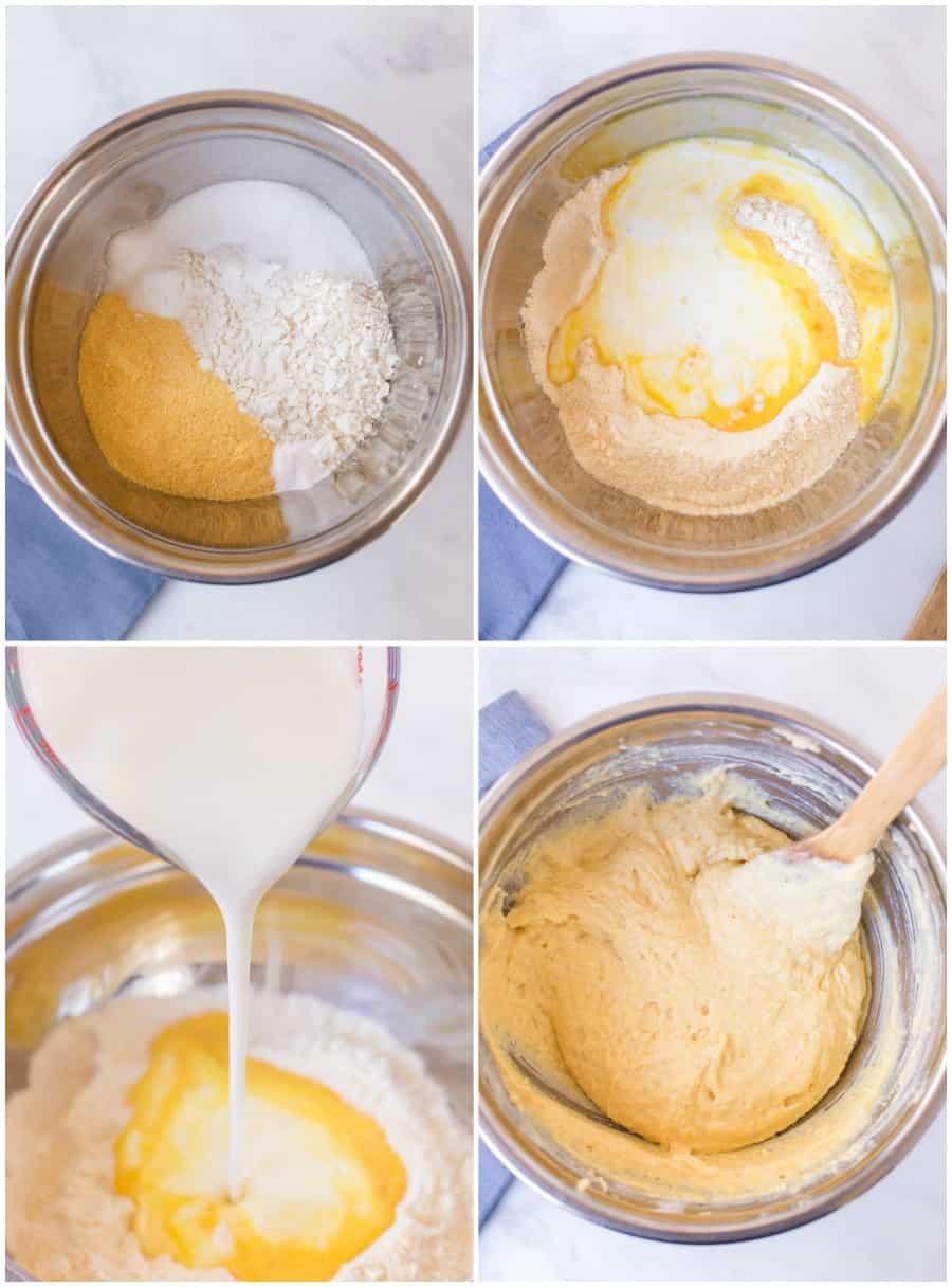 first four steps in making cornbread 1. add dry ingredients 2. add butter 3. add milk 4. stir to combine well