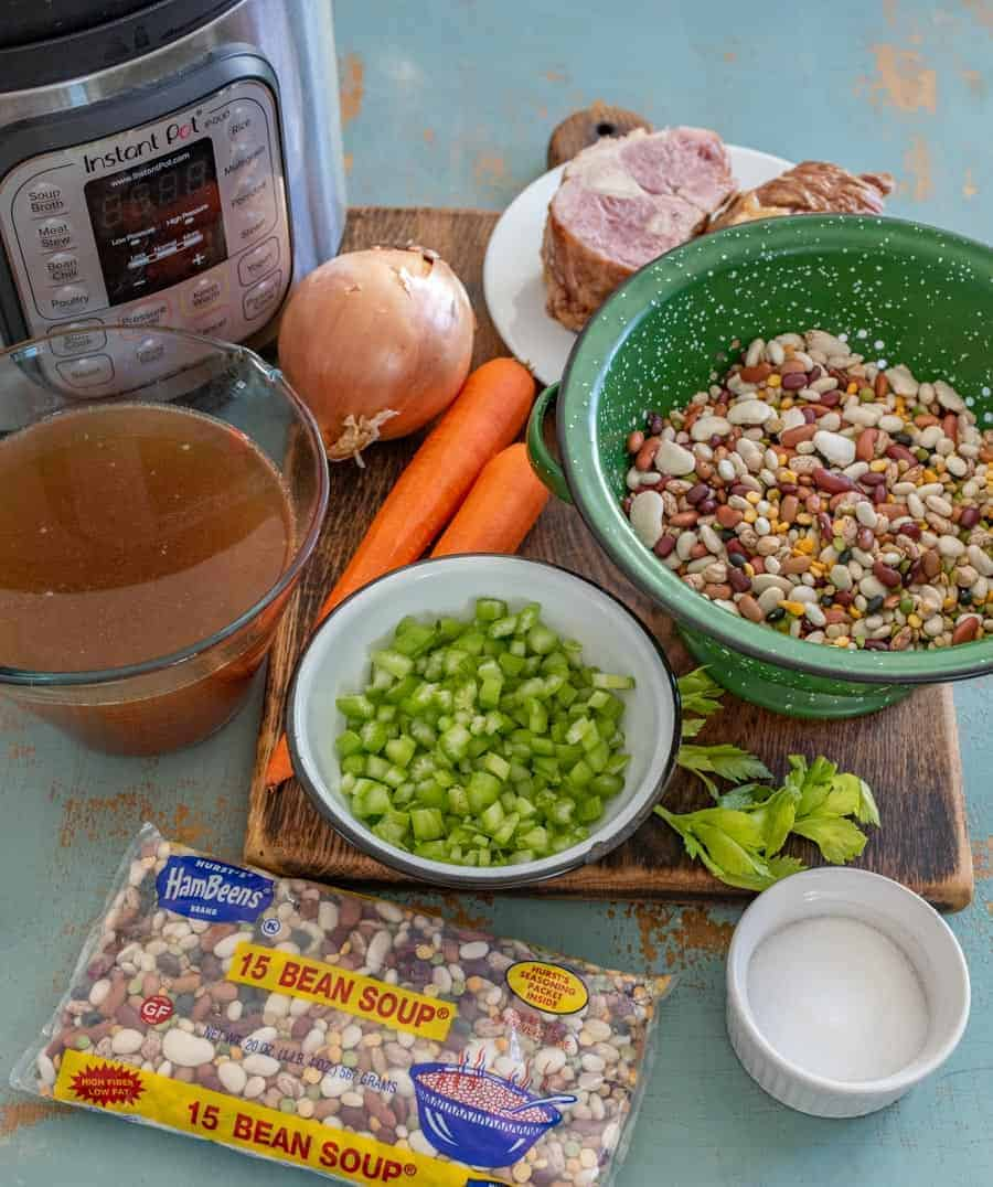 Hearty 15 Bean Soup in the Instant Pot made with ham, broth, veggies, and my favorite Hurst dried beans, perfect with a side of cornbread.