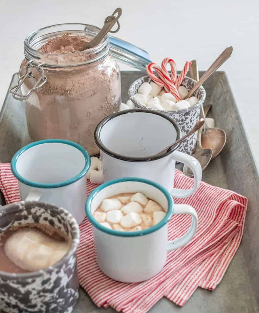 Easy homemade hot cocoa mix made with a few simple ingredients like powdered sugar, powdered milk, and cocoa powder that's perfect to mix with hot water or milk for homemade hot chocolate.