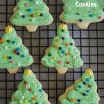 Title Image for Grandma Lucy's Sugar Cookies and a cooling rack with sugar cookies decorated as Christmas trees