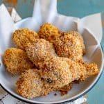 Bowl of crispy panko-crusted baked chicken legs