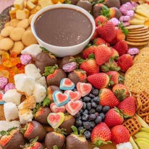 Valentine's Chocolate and Cheese Board