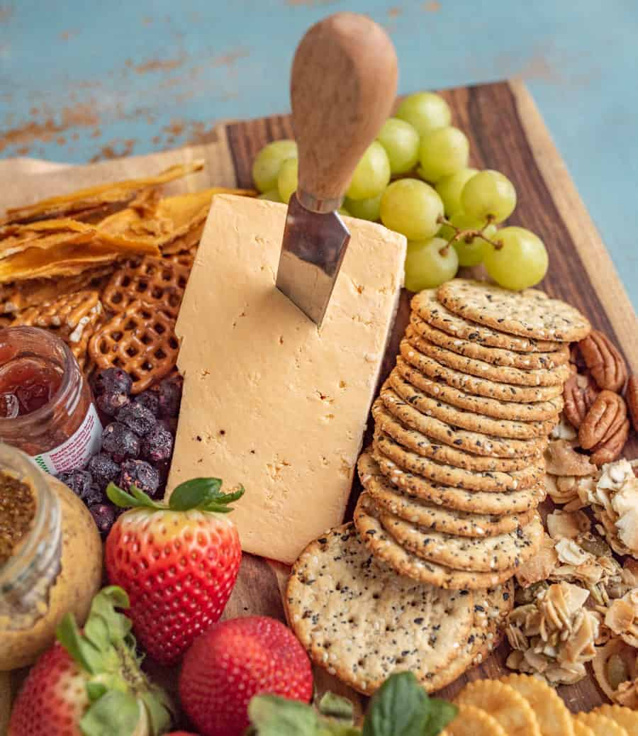 This classic cheese board has a little something for everyone! I like to fill my cheese boards with sweet, savory, and salty elements to round out the flavors and textures.