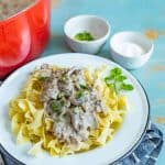Quick and easy Homemade Ground Beef Stroganoff is an easy dinner that the whole family will love, made with ground beef, mushrooms, and sour cream, and done in less than 30 minutes.