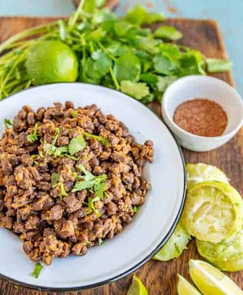 Quick and easy Mexican Black Beans for Tacos and for a side to all your favorite Tex-Mex dishes, made with canned black beans and lots of vibrant seasonings.