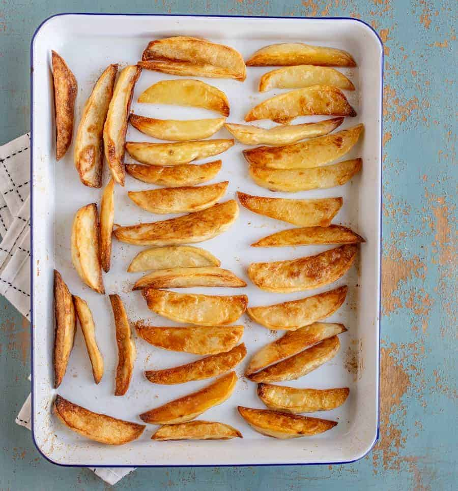 The best oven french fries you've ever had made from potatoes and baked crispy in the oven. Who doesn't love great homemade french fries?