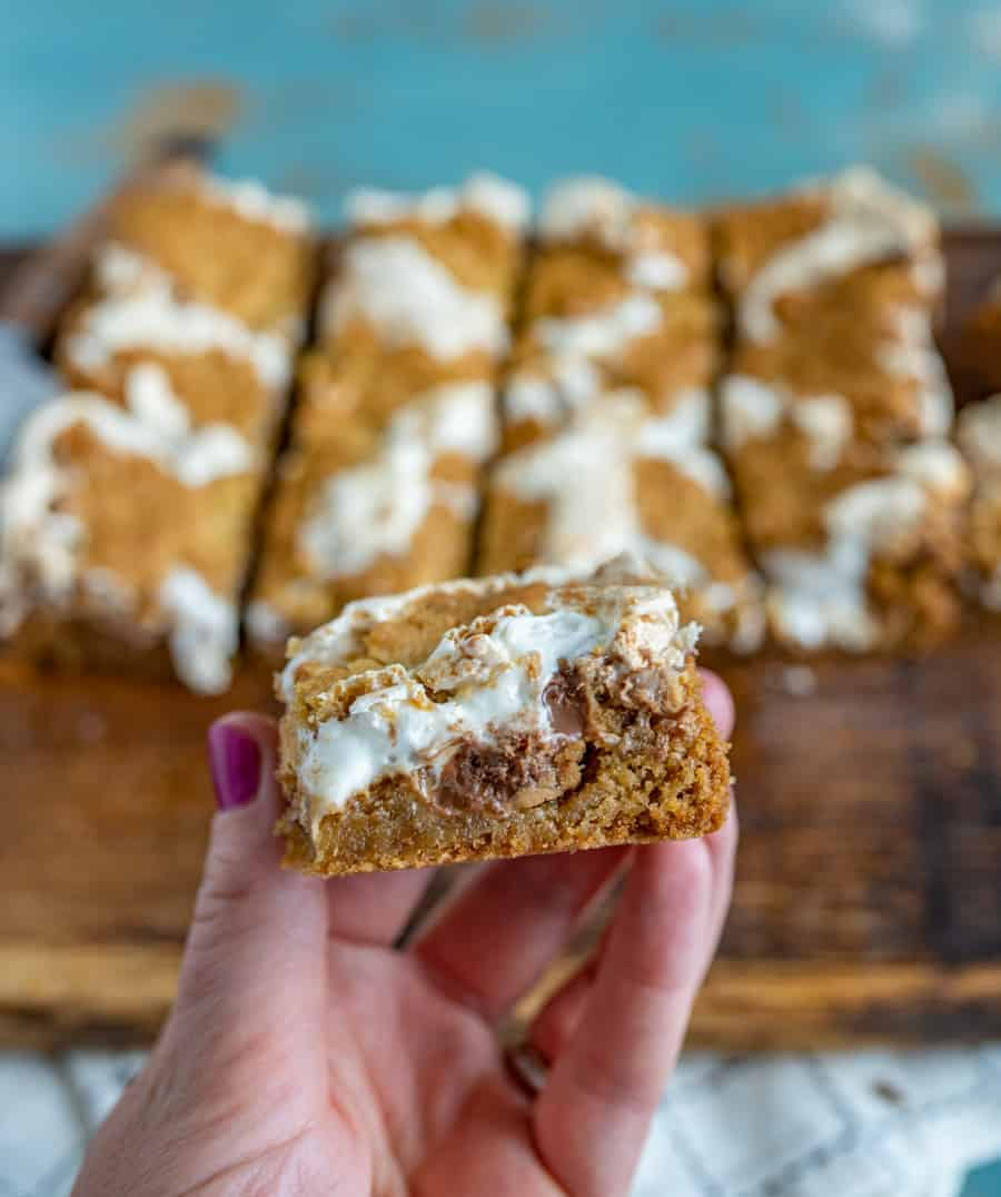 Rich and decadent Peanut Butter S'mores Bars made with a simple cookie-dough-graham-cracker crust, peanut butter, chocolate, and marshmallow creme.