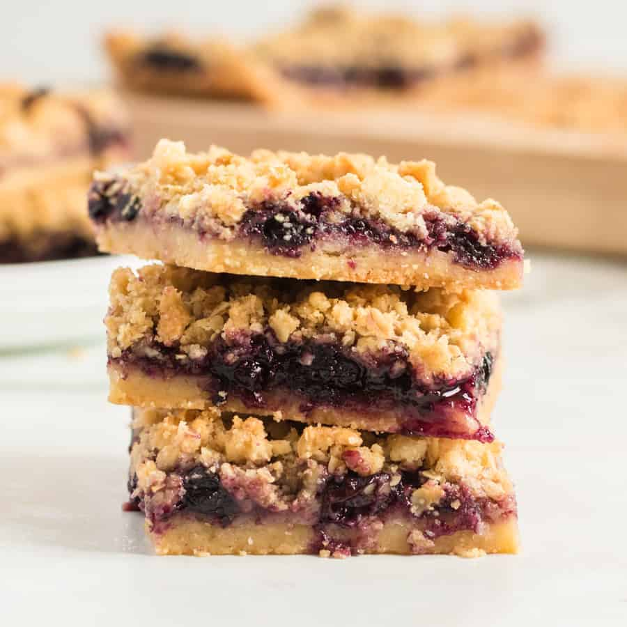 These streusel-topped Blueberry Pie Bars have a dense crust and gooey, blueberry-packed filling to make them a perfect dessert (or breakfast) any day.