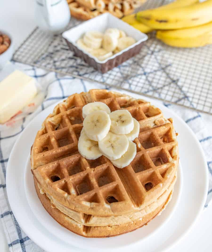 Banana Waffles have the dreamiest crunch to softness ratio and deliver the best flavor of subtle-yet-sweet banana fruitiness in this hearty breakfast dish that the whole family will salivate over and love.