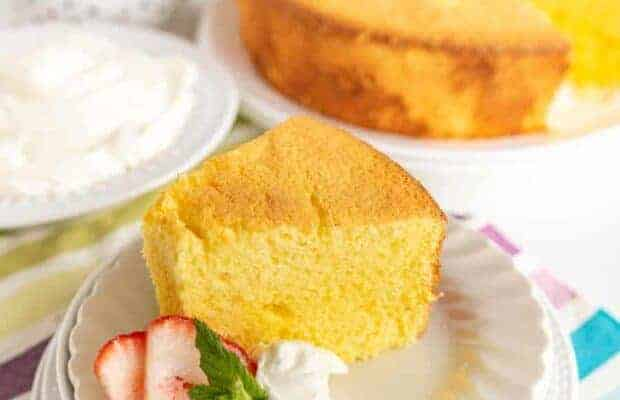 Lemon Chiffon Cake is like a zesty combination of pound cake and angel food cake... It's light, fluffy, and citrusy without any fussiness.
