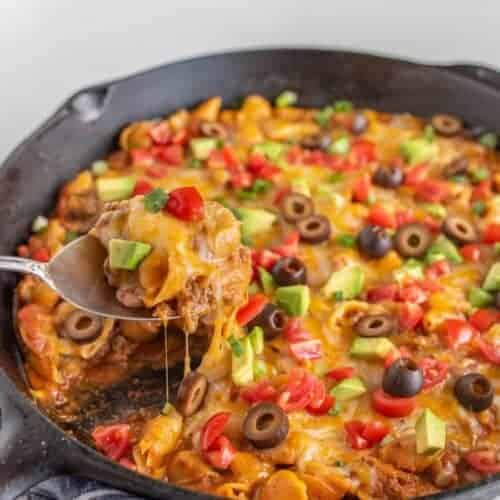 Skillet Taco Pasta made with ground beef