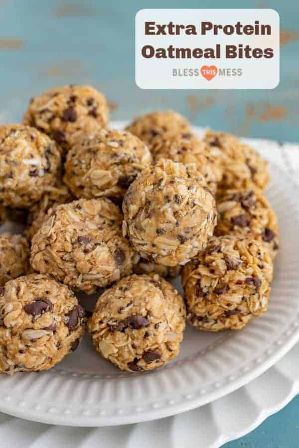 Title Image for Extra Protein Oatmeal Bites with a pile of oatmeal chocolate chip balls on a white plate