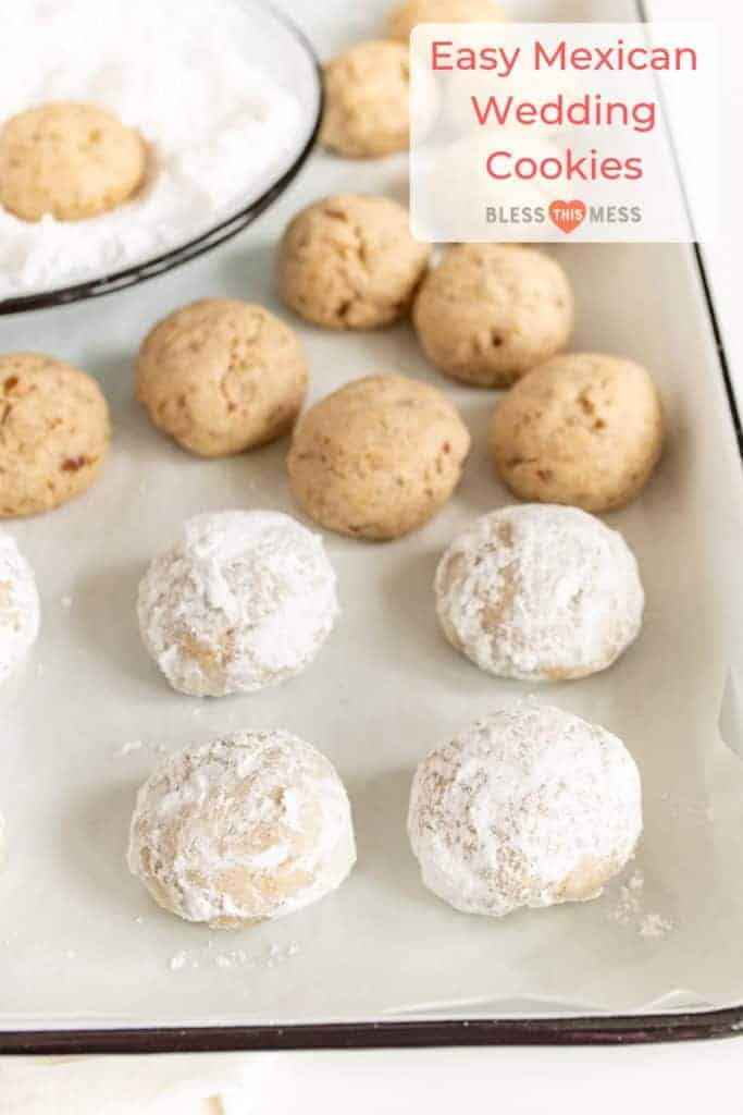These bite-sized Easy Mexican Wedding Cookies are festive pops of a sweet and nutty dessert that isn't over-the-top rich. #mexicanweddingcookies #easybaking #simpledesserts