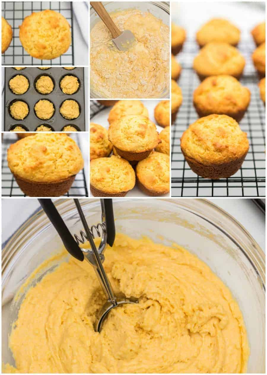 Various photos of corn muffins throughout the stages of making them: batter to pan to baked, finished muffins.