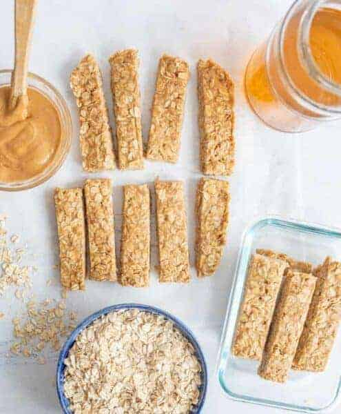 Image of 4 Ingredient Peanut Butter Honey Granola Bars
