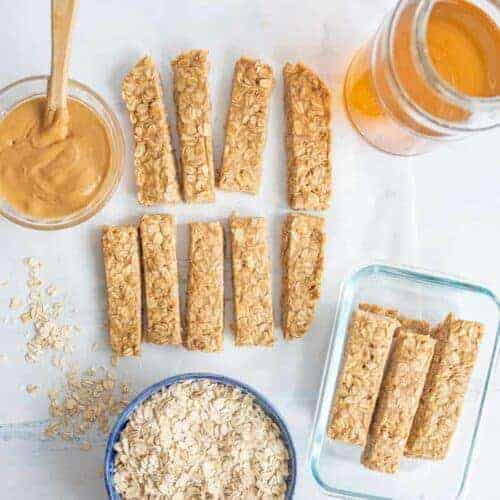 No Bake Peanut Butter Honey Granola Bars