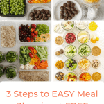 Meal planning doesn't require blood, sweat, and tears -- with my guide and free printable calendars, you can experience my busy-proof, tried-and-true 3 steps to EASY meal planning ASAP!