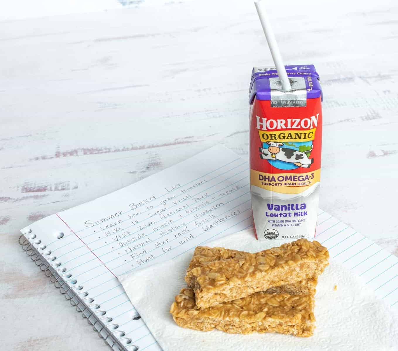 My easy homemade Granola Bars are an easy snack for on-the-go adventures, and pair perfectly with delicious Horizon Organic DHA Omega-3 milk boxes!