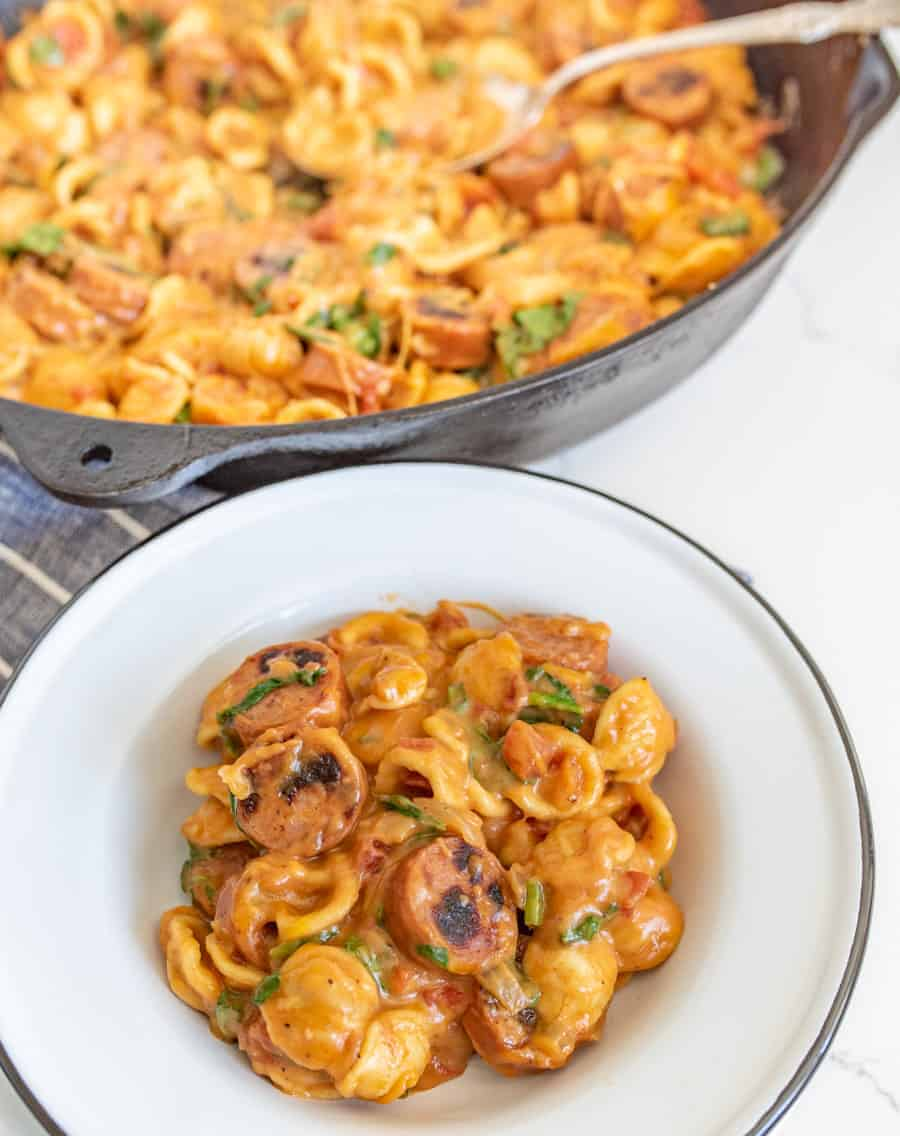 One pot cheesy sausage pasta is a decadent and rich one-pot meal, full of melty cheese and bites of summer sausage, and perfect for an easy meal at home when you don't want a lot of cleanup!