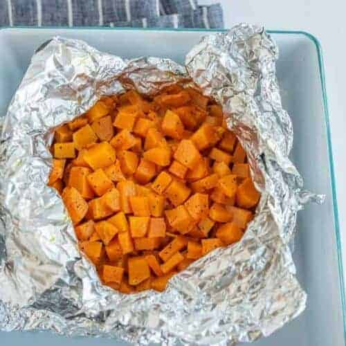 Grilled Butternut Squash in a foil packet