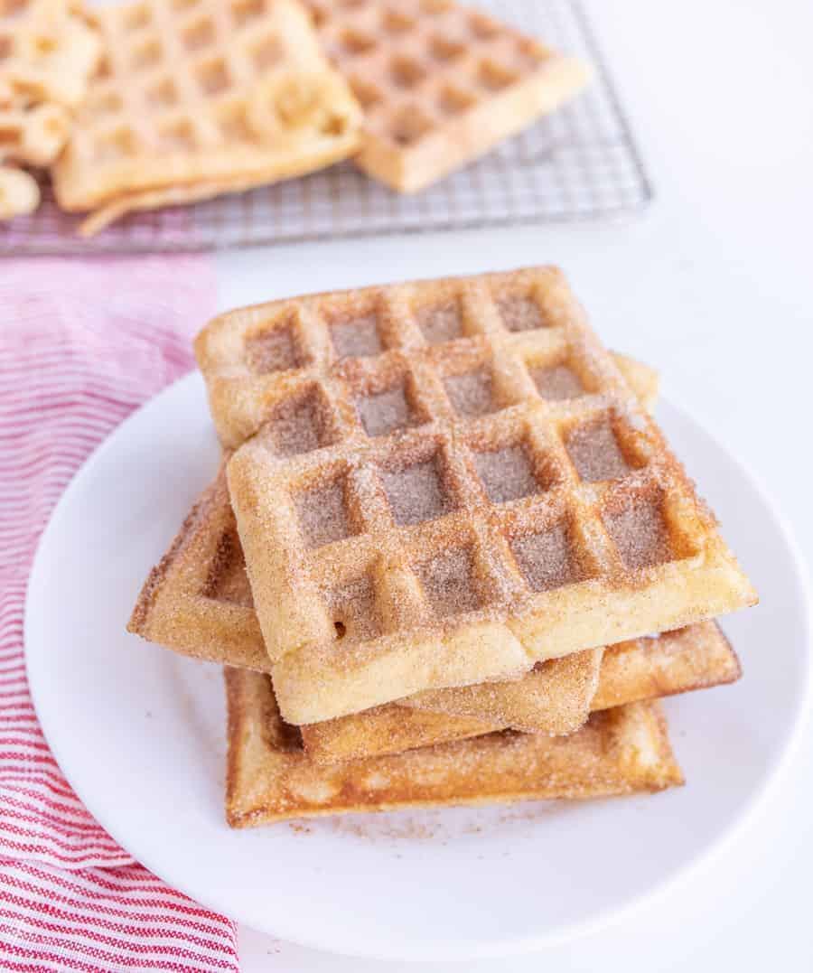 Homemade Churro Waffles For Breakfast