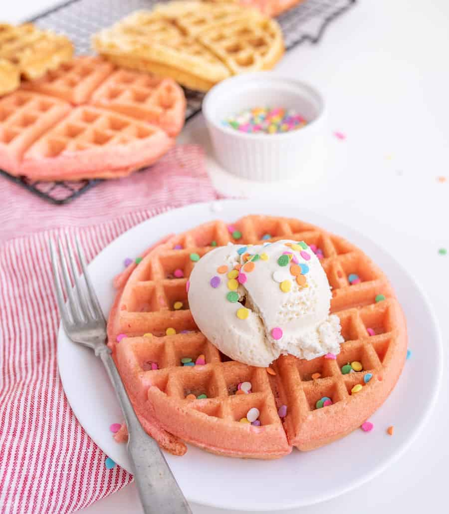 Cake Batter Dessert Waffles with Ice Cream