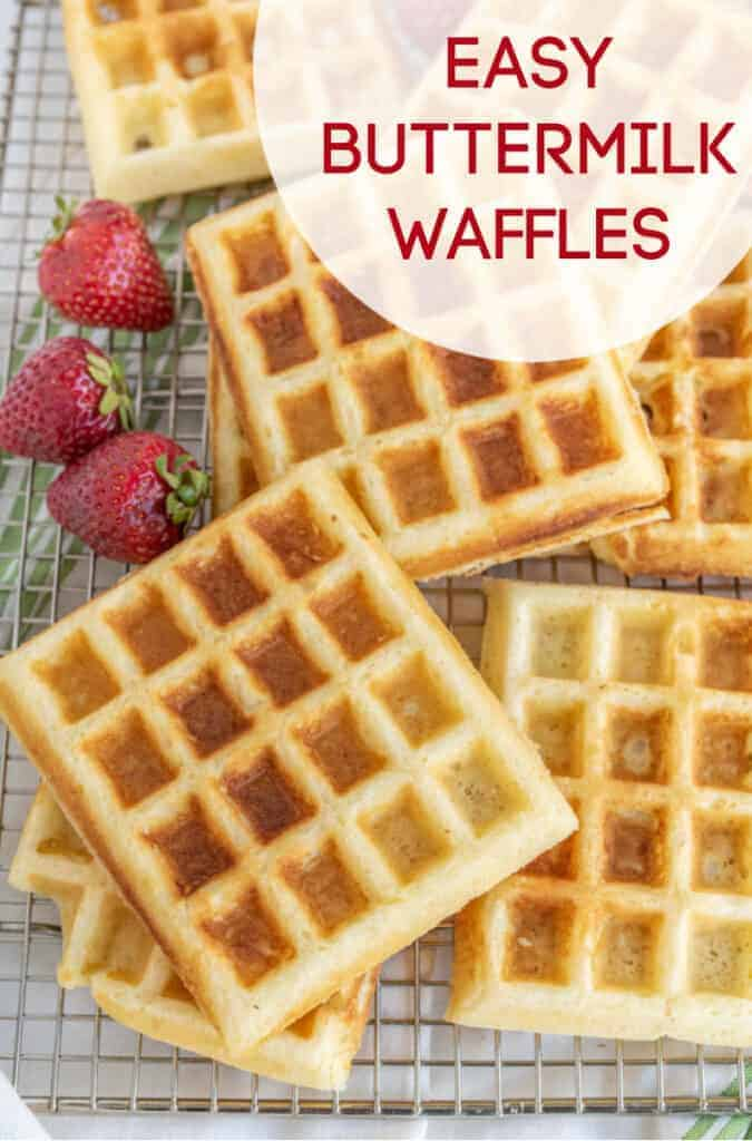 Title Image for Easy Buttermilk Waffles and a cooling rack with homemade waffles