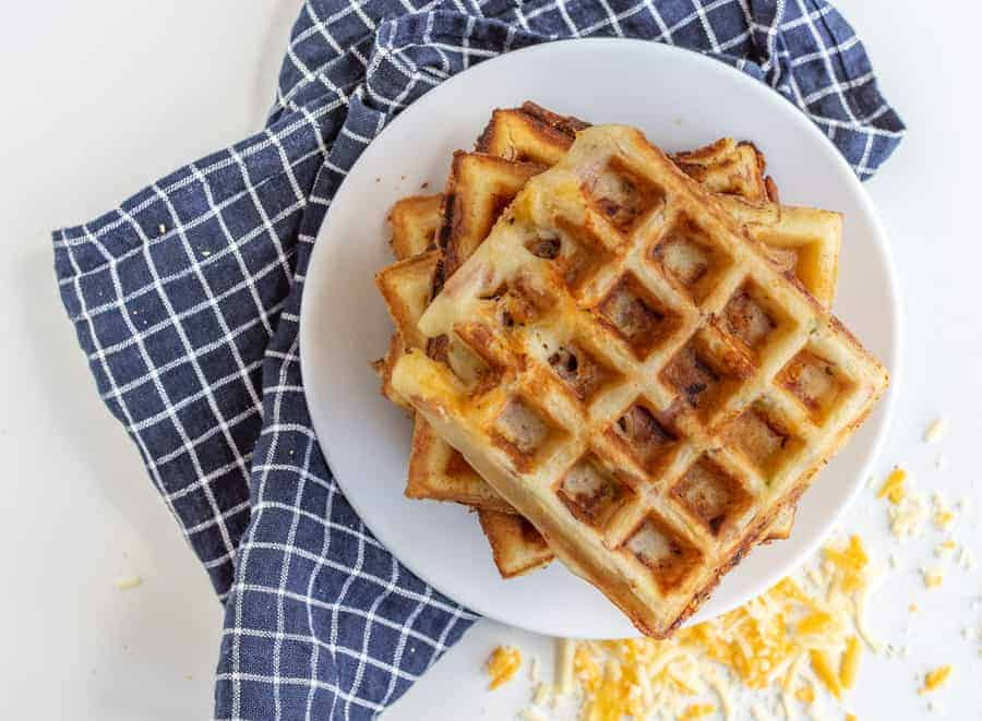 Crispy Ham and Cheese Waffles
