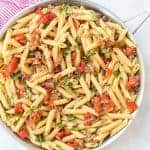 Bowl of roasted tomato and sausage pasta