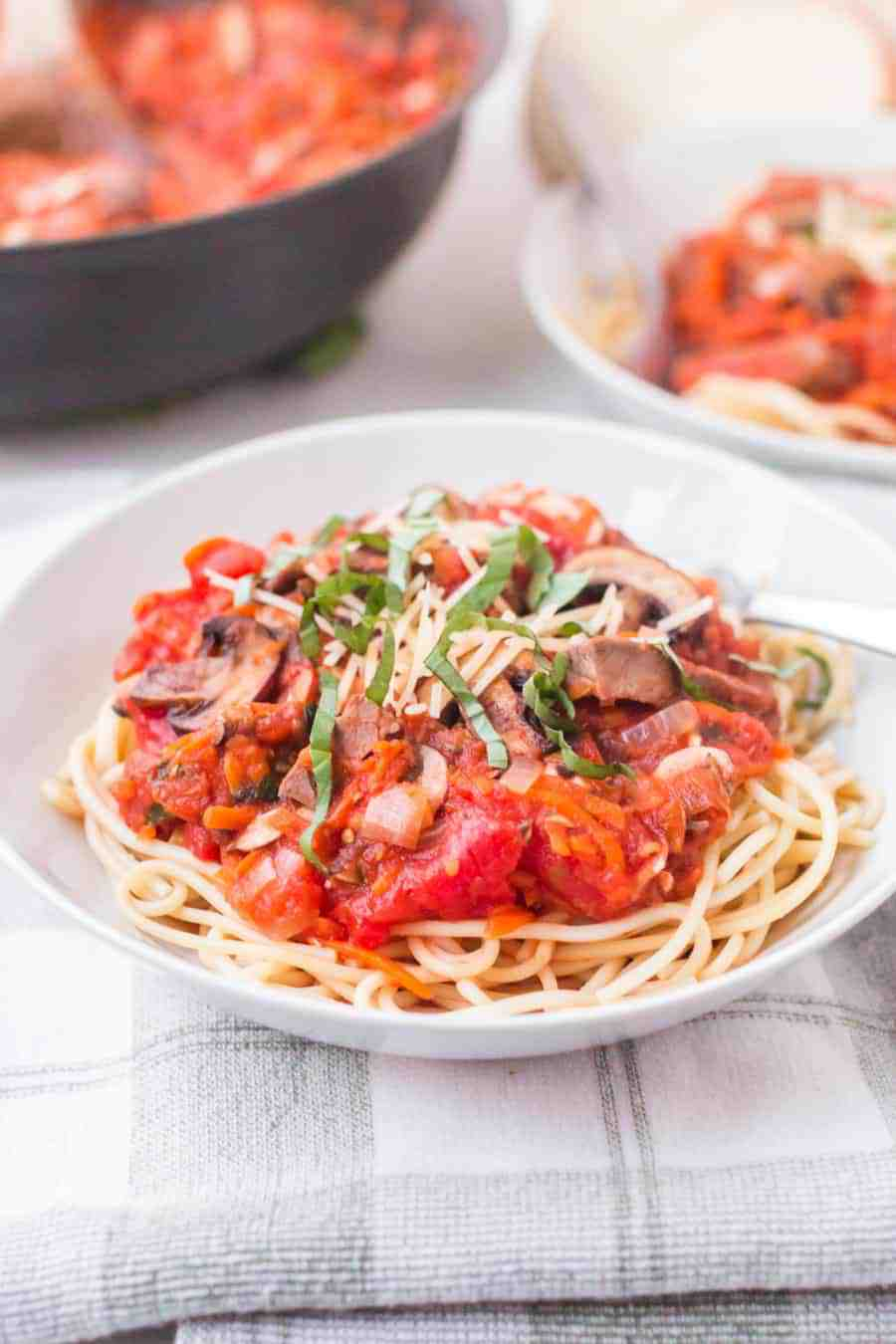 Steak and mushroom marinara is a hearty and rich pasta dish that's packed with bites of yummy steak, mushrooms, celery, carrots, onion, tomatoes, and decadent herbs. #pasta #marinara #steak #mushrooms #marinarapasta